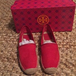 Red suede and leather Tory Burch espadrilles